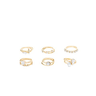 Embellished Rhinestone Stackable Rings - 11 Pack