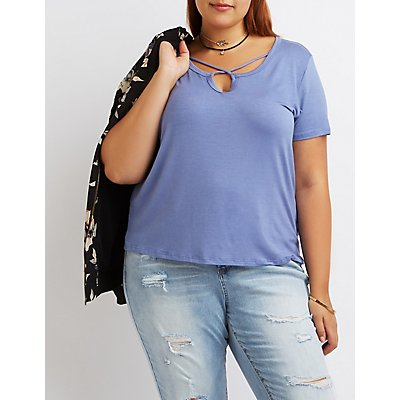 Plus Size Caged Boyfriend Tee