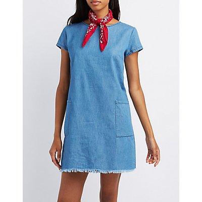 Fringed Chambray Shift Dress