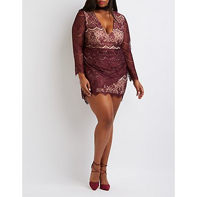 Plus Size Plunging Lace Bodycon Dress
