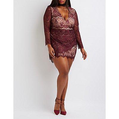 Plus Size Plunging Lace Bodycon Dress