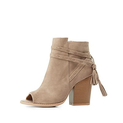 Qupid Tassel-Tie Peep Toe Booties