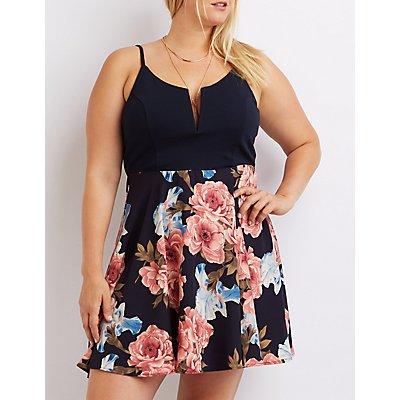 Plus Size Floral Combo Skater Dress
