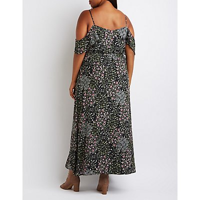 Plus Size Floral Cold Shoulder Maxi Dress