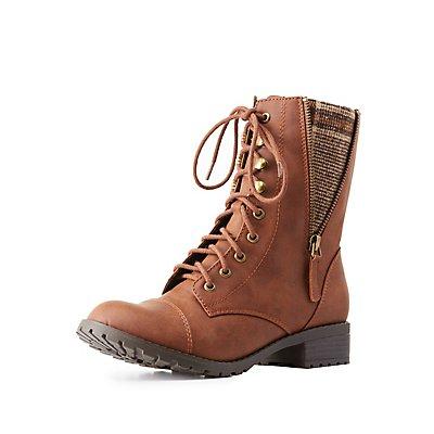 Flannel-Trim Combat Boots