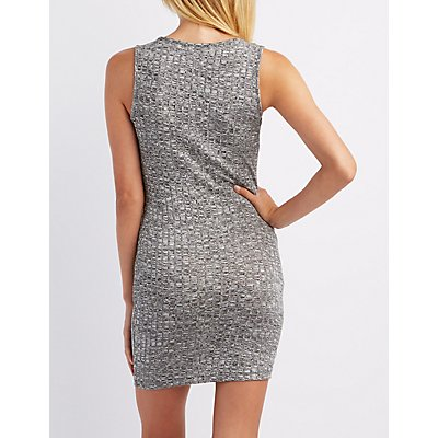Ribbed Zip-Front Bodycon Dress