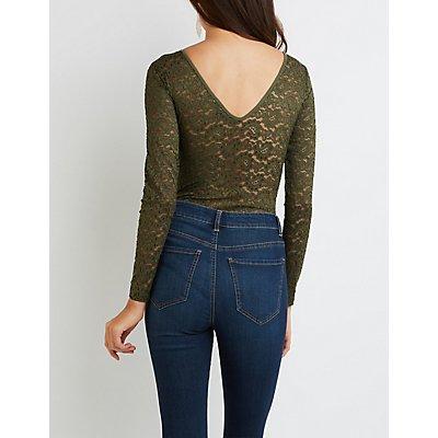 Lace Crochet-Trim Bodysuit