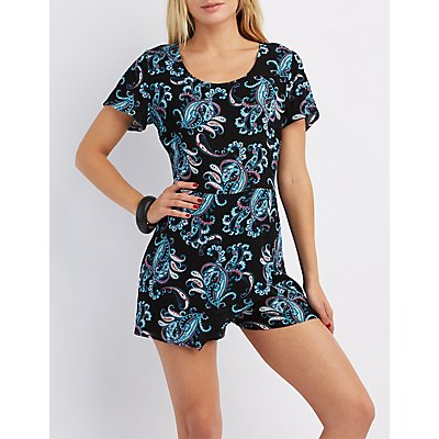 Printed Wrap Front Romper