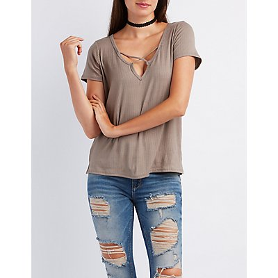 Strappy Ribbed Tee