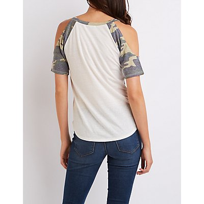 Camo Ringer Cold Shoulder Tee