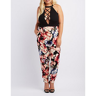 Plus Size Lattice Floral Combo Jumpsuit