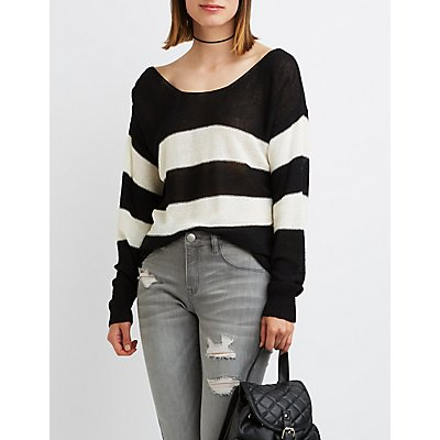 Striped Open Bar Back Sweater