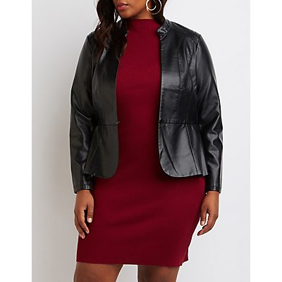 Plus Size Faux Leather Peplum Jacket