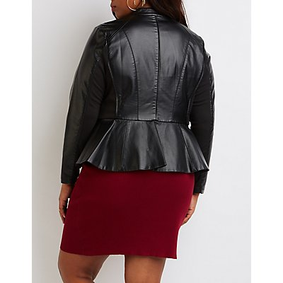 Plus Size Faux Leather Peplum Jacket