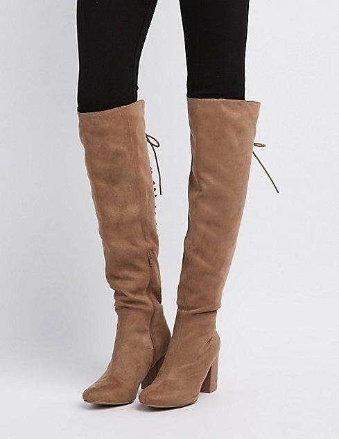 8f806e0e1e68 Thigh High Boots Lace Up Back