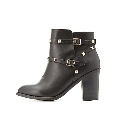 Studded Pointed Toe Ankle Booties