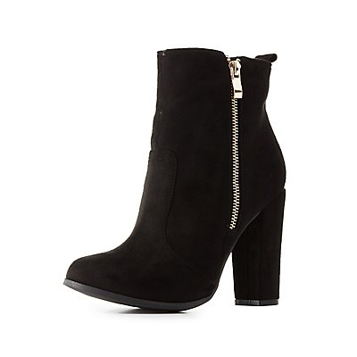 Zippered Chunky Heel Ankle Booties