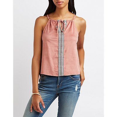 Faux Suede Embroidered Tank Top