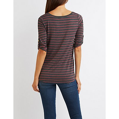 Scoop Neck Zip-Pocket Tee