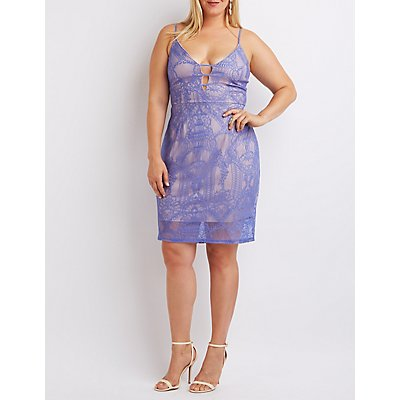 Plus Size Caged Lace Bodycon Dress
