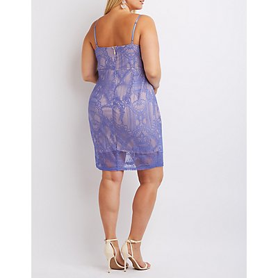 Plus Size Caged Lace Bodycon Dress