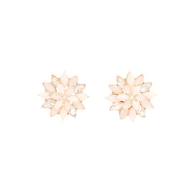 Faceted Stone Flower Stud Earrings