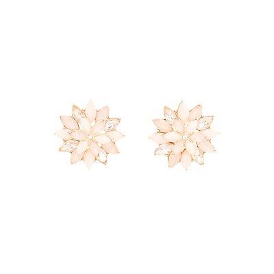 Faceted Stone Flower Stud Earrings