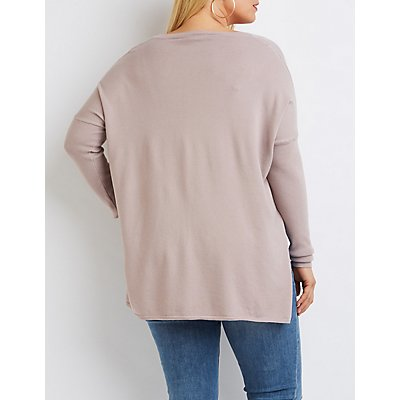 Plus Size Oversized Drop Shoulder Sweater
