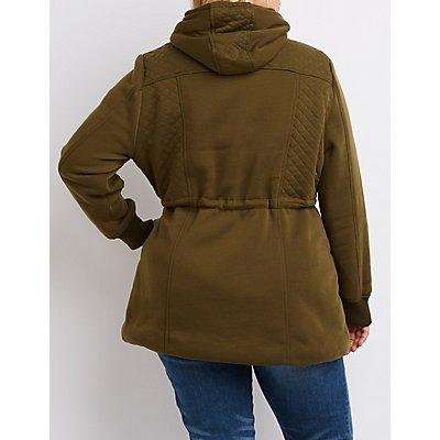 Plus Size Quilted Fleece Anorak Jacket