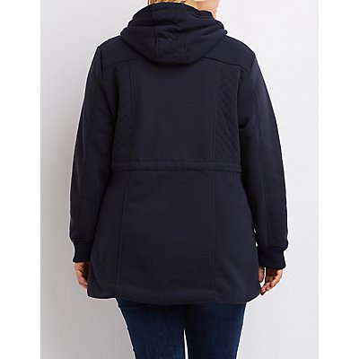 Plus Size Quilted Fleece Anorak Jacket