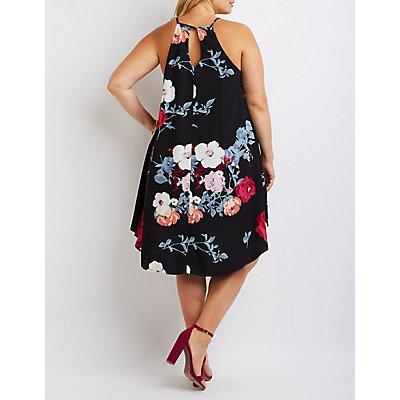 Plus Size Floral Bib Neck Shift Dress