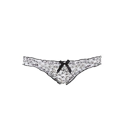 Printed Ruffle Thong Panties