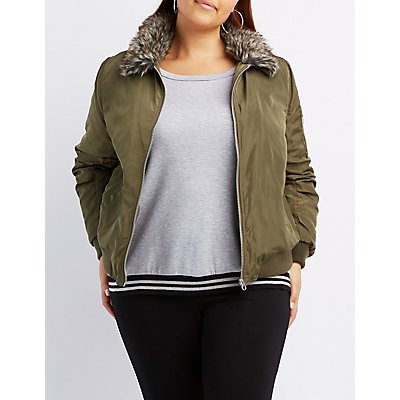Plus Size Faux Fur Collar Bomber Jacket