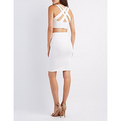 Notched Crop Top & Pencil Skirt Hook-Up