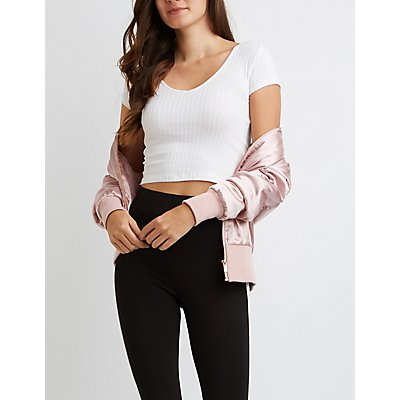 Ribbed V-Neck Crop Top