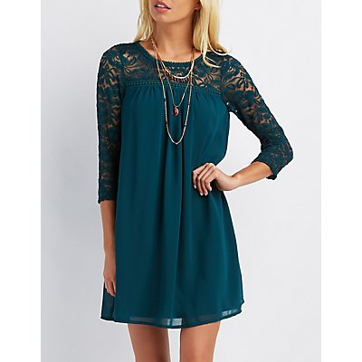 Lace Yoke Shift Dress