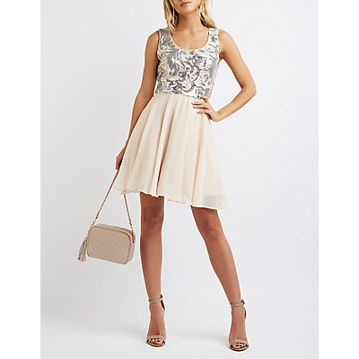 Sequin Bodice Skater Dress