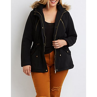 Plus Size Sherpa Lined Hooded Anorak Jacket