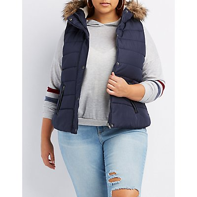 Plus Size Faux Fur-Trim Hooded Puffer Vest