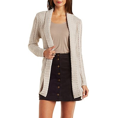 Belted Mixed Stitch Cardigan Sweater