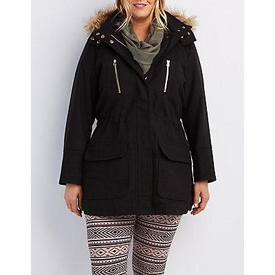 Plus Size Wool Faux Fur-Trim Anorak Jacket