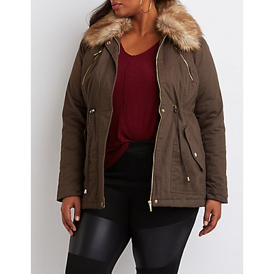 Plus Size Faux Fur Collar Anorak Jacket