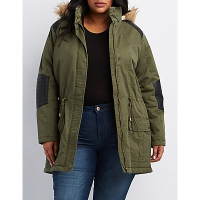 Plus Size Faux Fur & Leather-Trim Hooded Anorak Jacket
