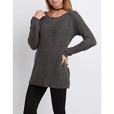 Open Back Tunic Sweater