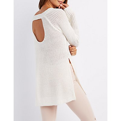 Scoop Neck Open Back Sweater