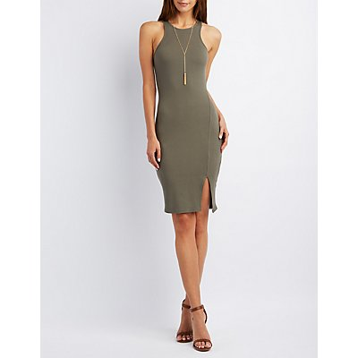 Racer Front Knit Bodycon Dress