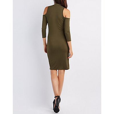 Mock Neck Cold Shoulder Dress