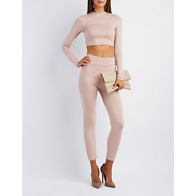 Mock Neck Crop Top & Leggings Hook-Up