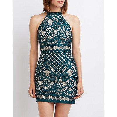 Lace Open Back Bodycon Dress