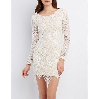 Eyelash Lace Scoop Neck Bodycon Dress